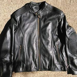 Leather Cafe racer black moto motorcycle jacket M